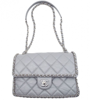 Chanel Pearl Grey Aged Leather Chain Trim Shoulder Bag