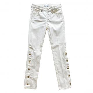 Chanel White Button Cuff Straight Leg Jeans