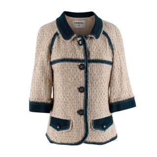Chanel Beige Tweed Denim Trimmed Jacket