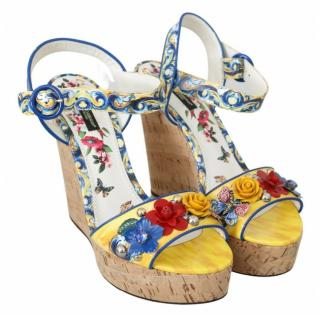 Dolce & Gabbana Embellished Majolica Wedge Sandals