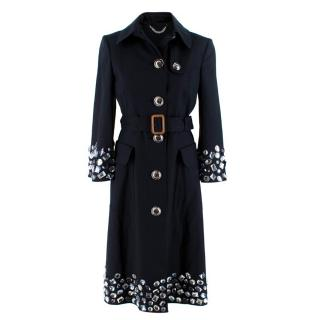 Burberry Navy Trench Coat with beaded details