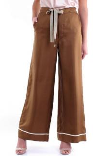 Alysi Brown Twill Olivia Wide Leg Pants