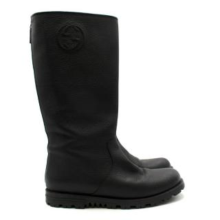 Gucci Black Grained Leather GG Flat Long Boots