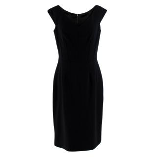 Dolce Gabbana Black Wool Corset Detail Dress