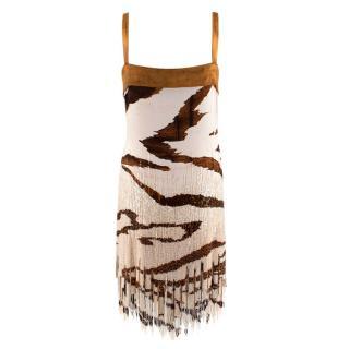 Roberto Cavalli Tiger Print Beaded Sequin Silk Dress