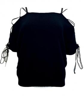 Valentino Black Lace-Up Cashmere Top