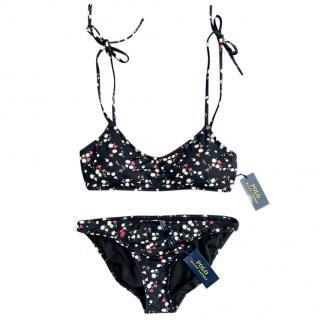 Polo Ralph Lauren Black Ditsy Floral Print Bikini