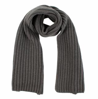 Loro Piana Grey Ribbed Cashmere scarf