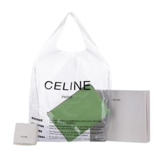 Celine Transparent Logo Stamp Shopper with Green Leather Pouch