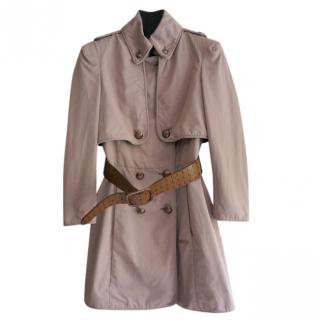 Burberry Pink Belted Double Breasted Trench Coat