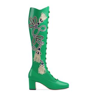 Gucci Green Leather Amaya Embroidered Lace Runway Boots