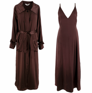 Sleeping with Jacques Silk Chocolate Dress and Robe Set
