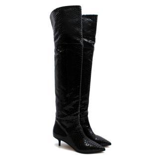 Jimmy Choo Snake Embossed Leather Kitten Heel Long Boots