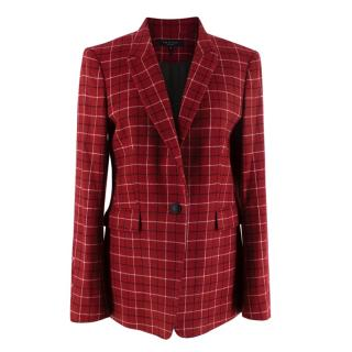 Rag & Bone Checked Red Wool Blazer