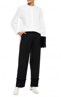 Theory Black Satin Trimmed Wool Pants