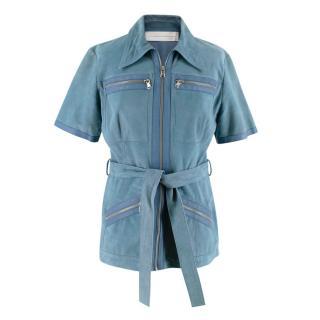 Victoria Victoria Beckham Blue Suede Leather Shirt