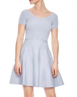 Sandro Blue Fit & Flare Knit Dress