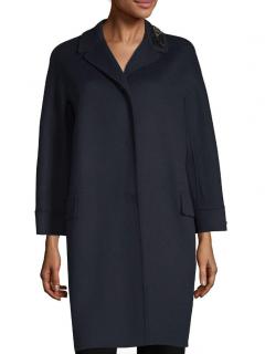 Max Mara Navy Embellished Angora Wool Coat