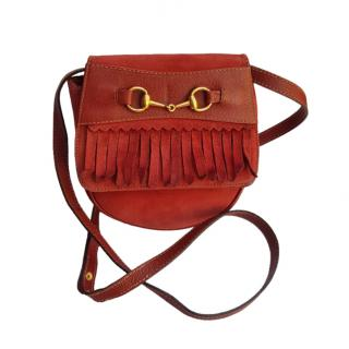 Gucci VIntage Fringed Suede Horsebit Bum Bag