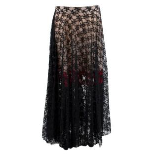 Christopher Kane Black & Red Lace Skirt
