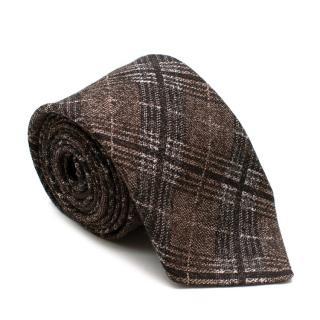 Salvatore Ferragamo Brown Checkered Wool & Silk Tie