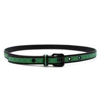 Bottega Veneta Black & Green Intrecciato Leather Belt