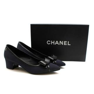 Chanel Navy Tie Bow Pumps