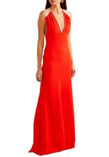 Victoria Beckham Mesh Back Red Sleeveless Gown