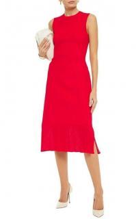 Victoria Beckham Ribbed Knit Red Midi Dress