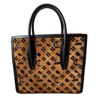 Christian Louboutin Suede & Leather Embellished Medium Tote Bag