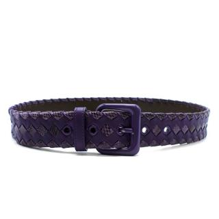 Bottega Veneta Purple Intrecciato Leather & Snakeskin Belt
