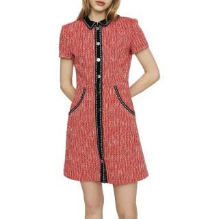 Maje Red Tweed Shirt Dress