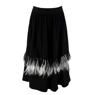 Christopher Kane Black Wool Crepe Ostrich Feather Trim Skirt
