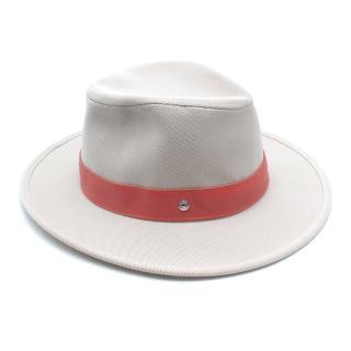 Hermes Beige Canvas Swift Leather Trim Panama hat
