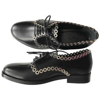 Alaia Eyelet Trim Black Glossy Chunky Shoes
