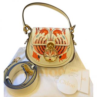 Chloe White Printed Leather Small Tess Bag