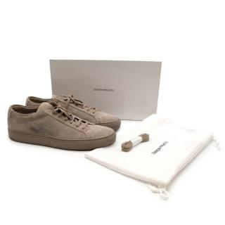 Commun Projects Greige Suede Achilles Low Top Trainers