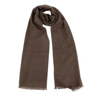 Bespoke Brown Silk & Cashmere Scarf