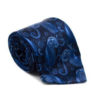Lanvin Blue Silk Printed Tie