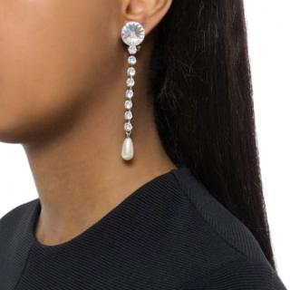 Miu Miu Crystal & Faux Pearl Drop Earrings