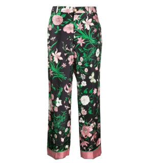 Gucci Black, Green & Pink Floral Star Tailored Trousers