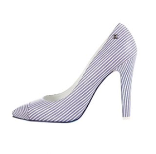 Chanel Blue Striped Pointed Toe Pumps