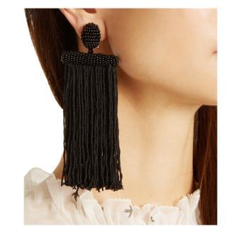 Oscar De La Renta Black Waterfall Tassel Earrings