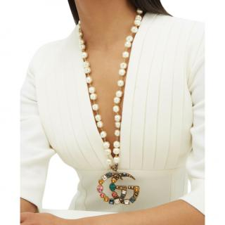Gucci Crystal GG Faux Pearl Necklace