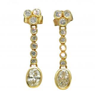 Bespoke 18ct Yellow Gold Diamond Drop Earrings