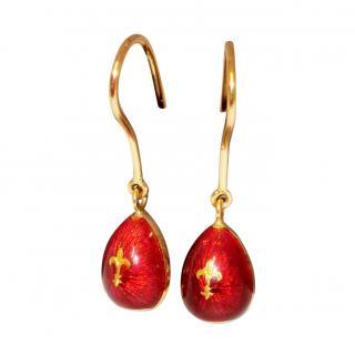 Faberge Enamel Red Earrings