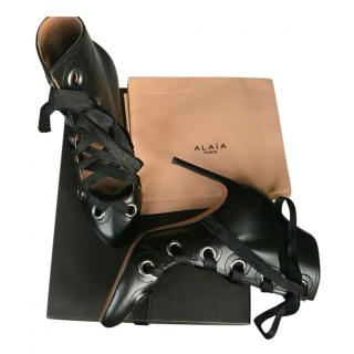 Alaia Black Polished Leather Lace-Up Ankle Boots