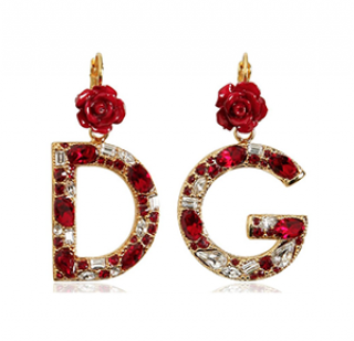Dolce & Gabbana Red & Gold Crystal Logo Earrings