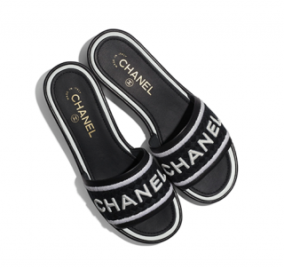 Chanel Black & White Lambskin & Embroideries Mules