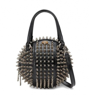 Gucci Black Spiked Mini Tifosa Basketball Bag